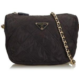 Chain Crossbody Black Nylon Shoulder Bag